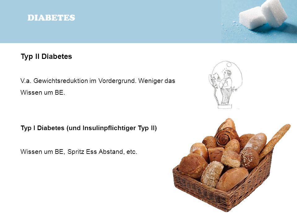 Typ II Diabetes V.a. Gewichtsreduktion im Vordergrund. Weniger das Wissen um BE. Typ I Diabetes (und Insulinpflichtiger Typ II) Wissen um BE, Spritz E
