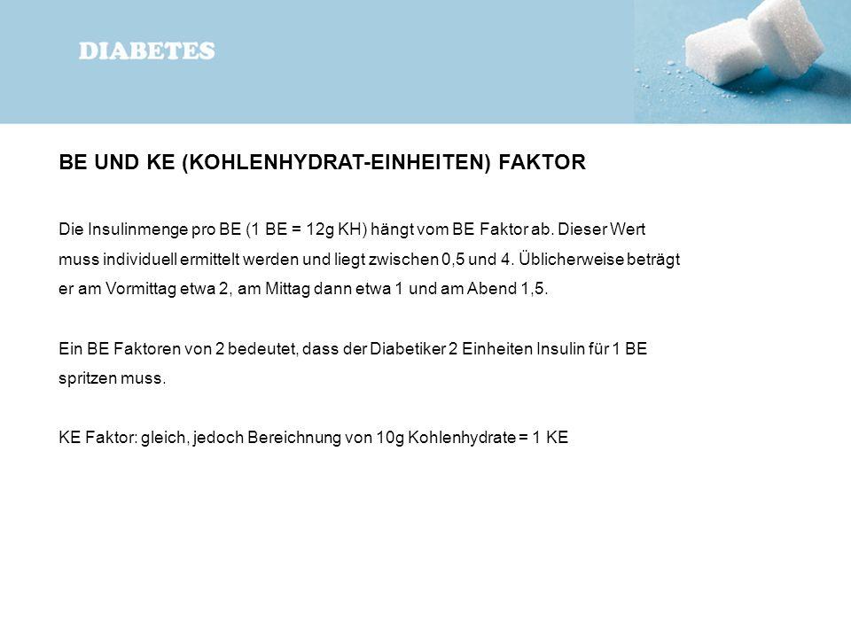BE UND KE (KOHLENHYDRAT-EINHEITEN) FAKTOR Die Insulinmenge pro BE (1 BE = 12g KH) hängt vom BE Faktor ab. Dieser Wert muss individuell ermittelt werde