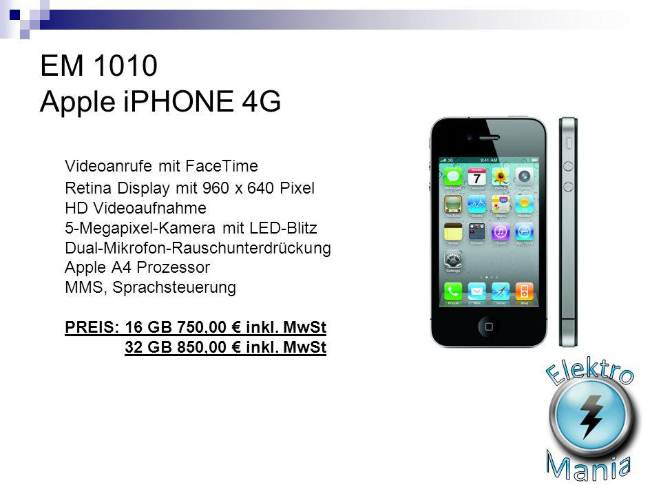 EM 1010 Apple iPHONE 4G Videoanrufe mit FaceTime Retina Display mit 960 x 640 Pixel HD Videoaufnahme 5-Megapixel-Kamera mit LED-Blitz Dual-Mikrofon-Ra