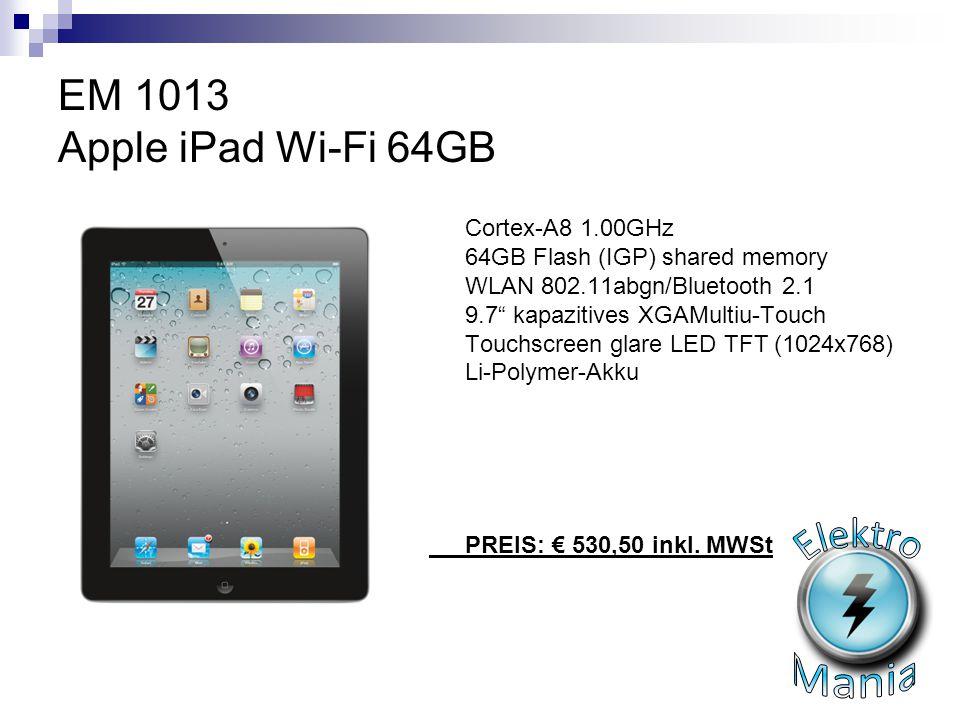 "EM 1013 Apple iPad Wi-Fi 64GB Cortex-A8 1.00GHz 64GB Flash (IGP) shared memory WLAN 802.11abgn/Bluetooth 2.1 9.7"" kapazitives XGAMultiu-Touch Touchscr"