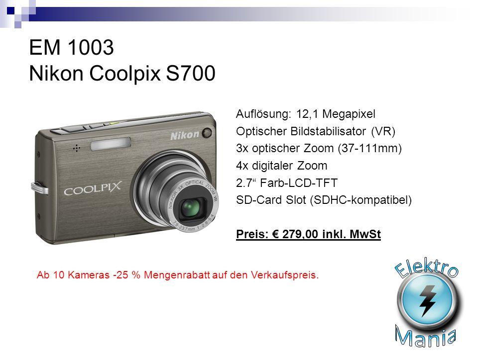 """EM 1003 Nikon Coolpix S700 Auflösung: 12,1 Megapixel Optischer Bildstabilisator (VR) 3x optischer Zoom (37-111mm) 4x digitaler Zoom 2.7"""" Farb-LCD-TFT"""