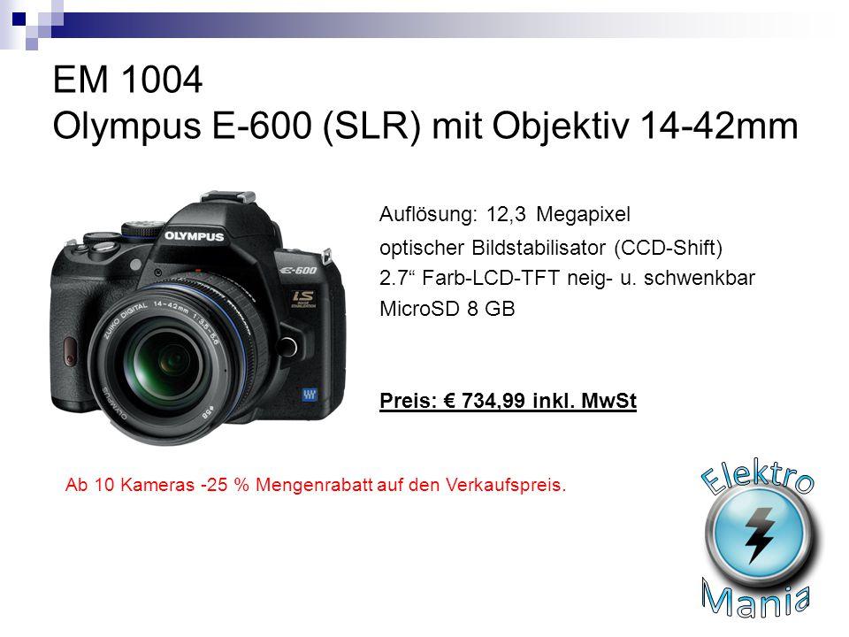 "EM 1004 Olympus E-600 (SLR) mit Objektiv 14-42mm Auflösung: 12,3 Megapixel optischer Bildstabilisator (CCD-Shift) 2.7"" Farb-LCD-TFT neig- u. schwenkba"