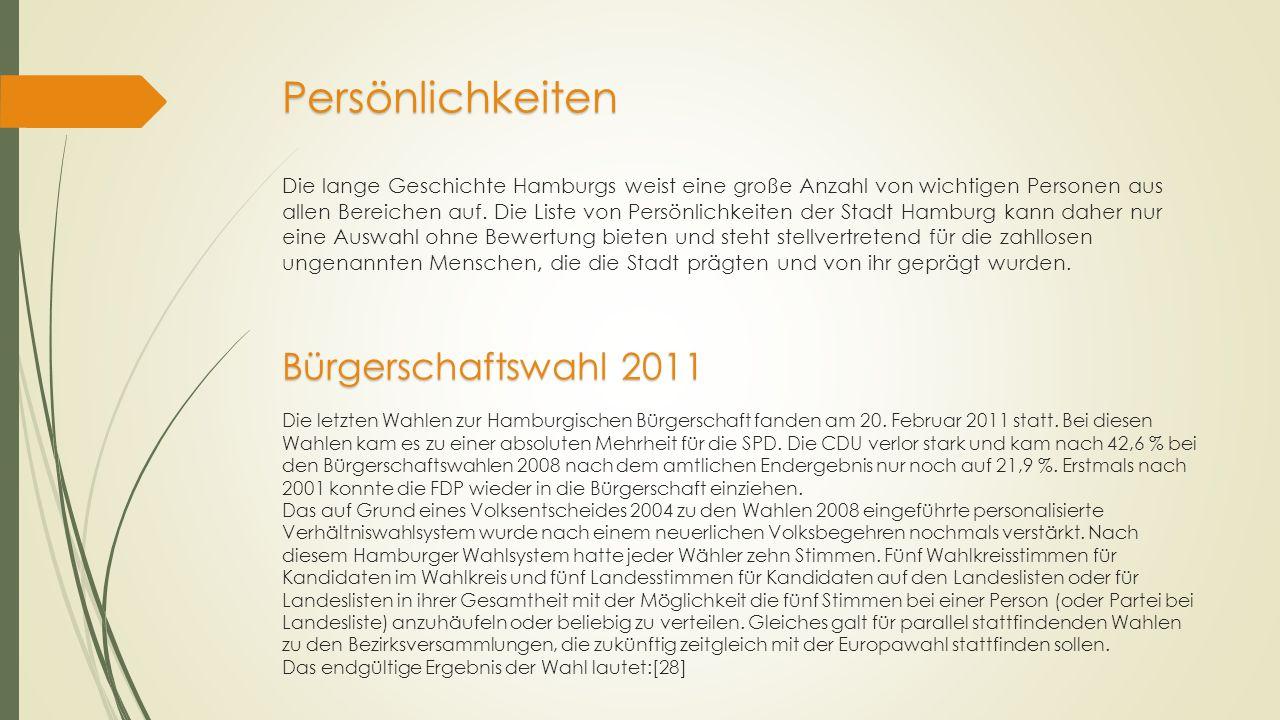 Persönlichkeiten Bürgerschaftswahl 2011 Persönlichkeiten Die lange Geschichte Hamburgs weist eine große Anzahl von wichtigen Personen aus allen Bereic