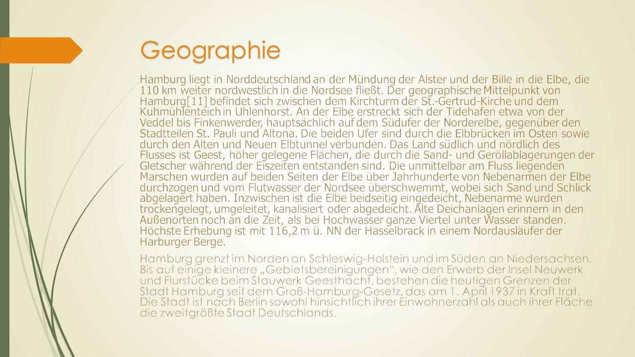 Hymne, Stadtname, Stadtpatrone, Wahlsprüche  Die bei offiziellen Anlässen verwendete, aber nicht rechtlich festgeschriebene Landeshymne Hamburgs ist Stadt Hamburg an der Elbe Auen.