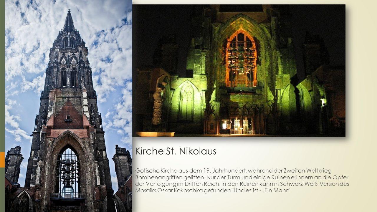 Kirche St. Nikolaus Gotische Kirche aus dem 19. Jahrhundert, während der Zweiten Weltkrieg Bombenangriffen gelitten. Nur der Turm und einige Ruinen er