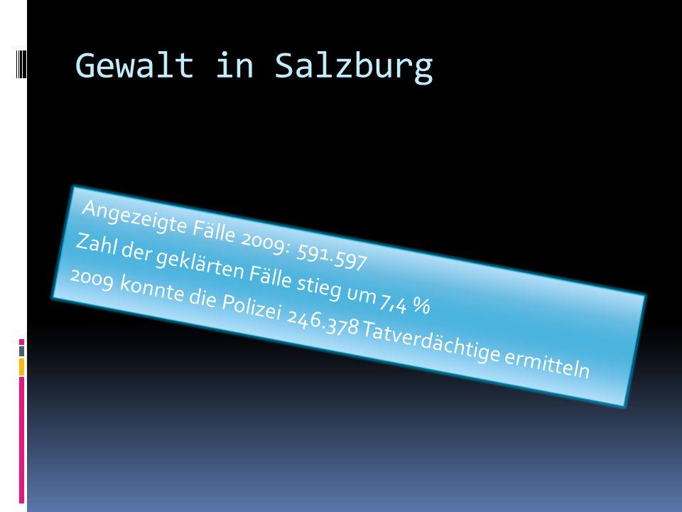 Gewalt in Salzburg Angezeigte Fälle 2009: 591.597 Zahl der geklärten Fälle stieg um 7,4 % 2009 konnte die Polizei 246.378 Tatverdächtige ermitteln