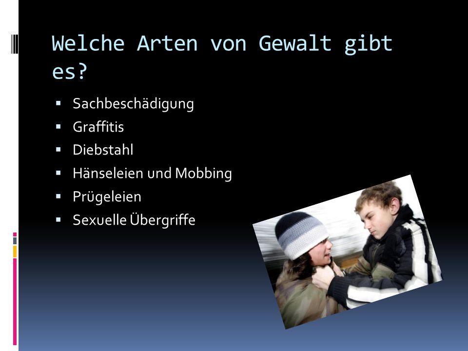 Welche Arten von Gewalt gibt es?  Sachbeschädigung  Graffitis  Diebstahl  Hänseleien und Mobbing  Prügeleien  Sexuelle Übergriffe
