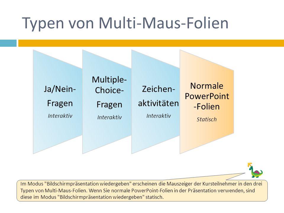 Typen von Multi-Maus-Folien Ja/Nein- Fragen Interaktiv Multiple- Choice- Fragen Interaktiv Zeichen- aktivitäten Interaktiv Normale PowerPoint -Folien Statisch Im Modus Bildschirmpräsentation wiedergeben erscheinen die Mauszeiger der Kursteilnehmer in den drei Typen von Multi-Maus-Folien.