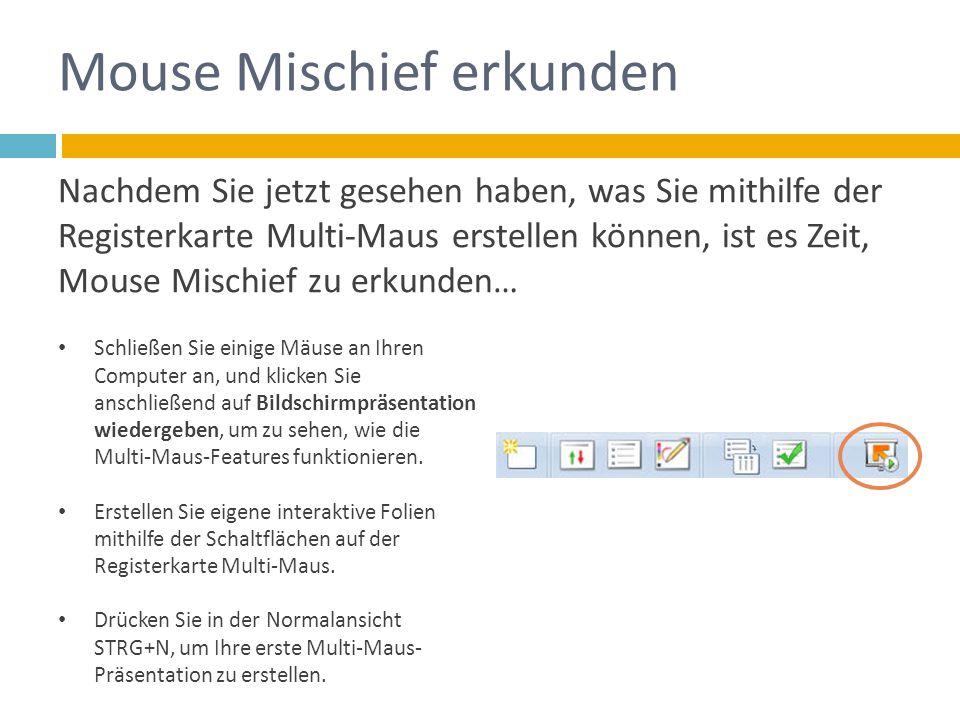 Nachdem Sie jetzt gesehen haben, was Sie mithilfe der Registerkarte Multi-Maus erstellen können, ist es Zeit, Mouse Mischief zu erkunden… Schließen Sie einige Mäuse an Ihren Computer an, und klicken Sie anschließend auf Bildschirmpräsentation wiedergeben, um zu sehen, wie die Multi-Maus-Features funktionieren.