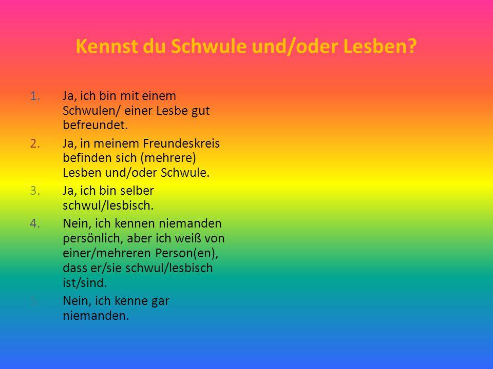 Kennst du Schwule und/oder Lesben? 1.Ja, ich bin mit einem Schwulen/ einer Lesbe gut befreundet. 2.Ja, in meinem Freundeskreis befinden sich (mehrere)