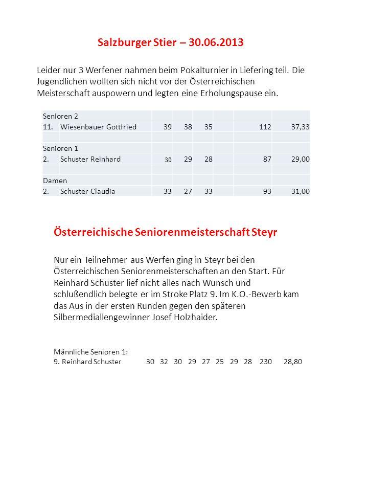 Salzburger Stier – 30.06.2013 Leider nur 3 Werfener nahmen beim Pokalturnier in Liefering teil. Die Jugendlichen wollten sich nicht vor der Österreich