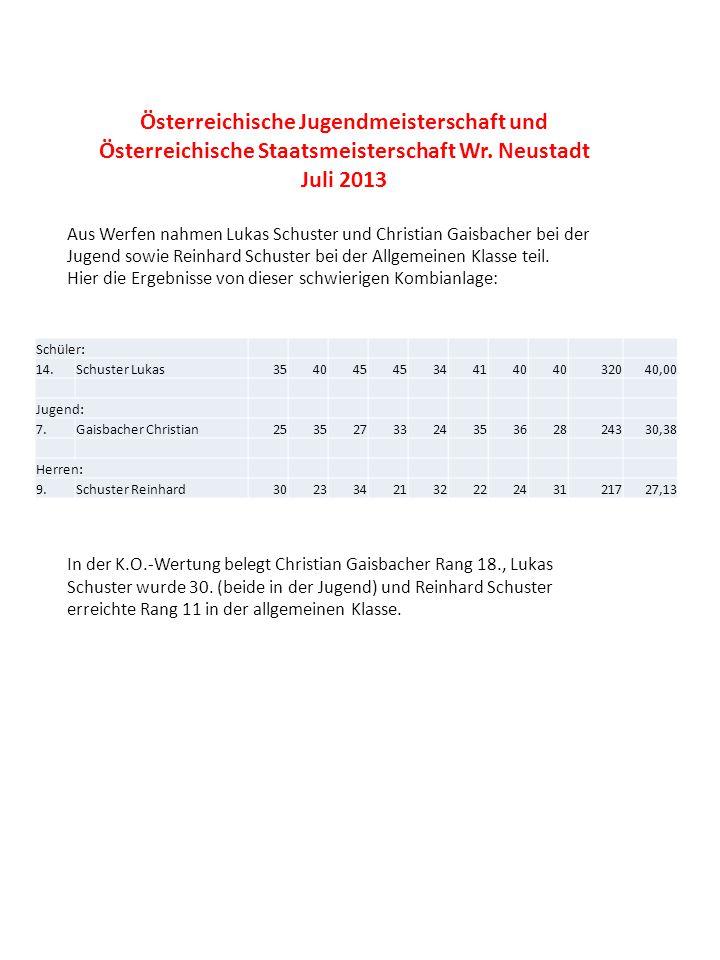 Österreichische Jugendmeisterschaft und Österreichische Staatsmeisterschaft Wr. Neustadt Juli 2013 Aus Werfen nahmen Lukas Schuster und Christian Gais