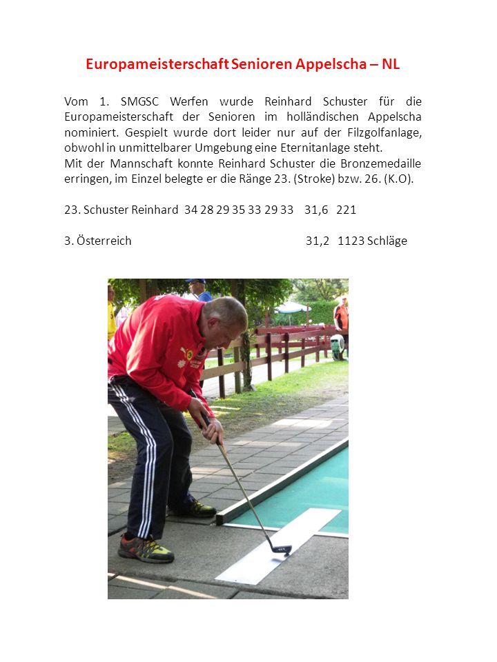 Europameisterschaft Senioren Appelscha – NL Vom 1. SMGSC Werfen wurde Reinhard Schuster für die Europameisterschaft der Senioren im holländischen Appe
