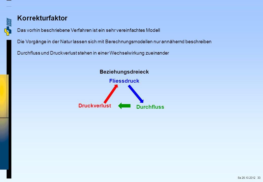 33 Korrekturfaktor Das vorhin beschriebene Verfahren ist ein sehr vereinfachtes Modell Die Vorgänge in der Natur lassen sich mit Berechnungsmodellen n