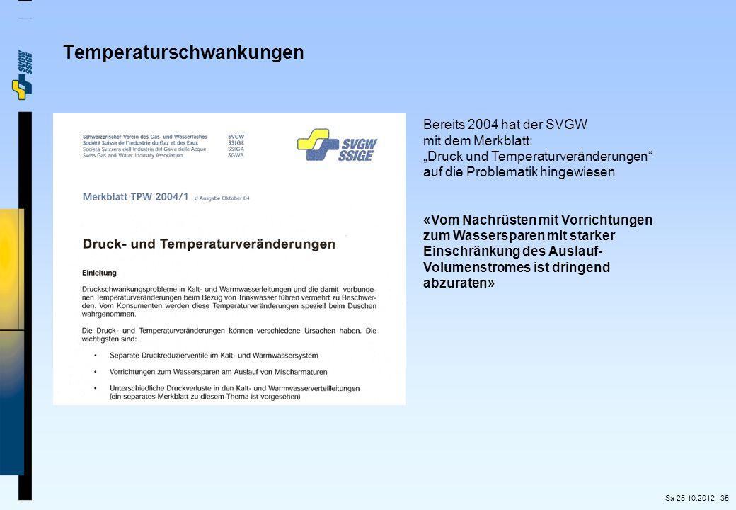 """35 Bereits 2004 hat der SVGW mit dem Merkblatt: """"Druck und Temperaturveränderungen"""" auf die Problematik hingewiesen «Vom Nachrüsten mit Vorrichtungen"""