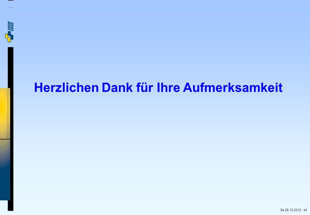 44 Herzlichen Dank für Ihre Aufmerksamkeit Sa 25.10.2012
