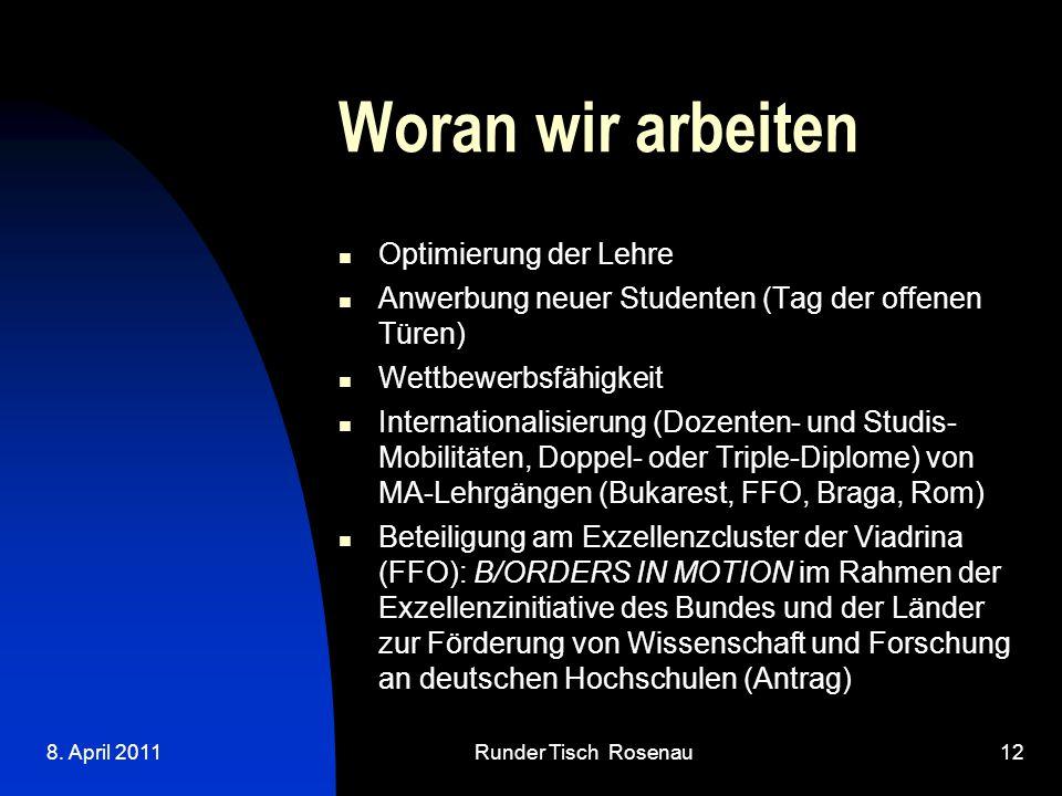 8. April 2011Runder Tisch Rosenau12 Woran wir arbeiten Optimierung der Lehre Anwerbung neuer Studenten (Tag der offenen Türen) Wettbewerbsfähigkeit I