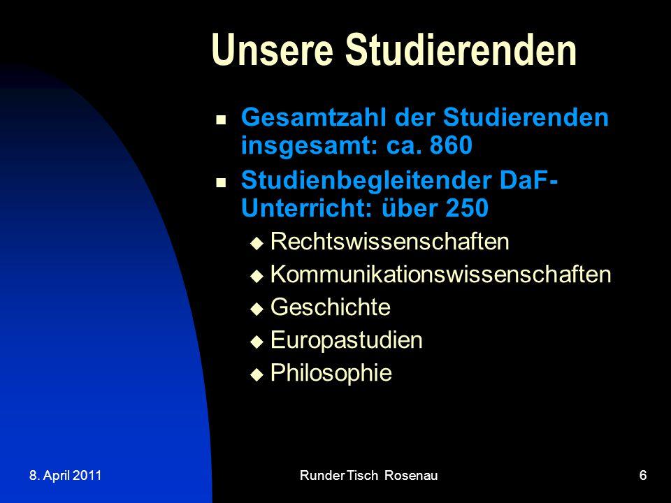 8. April 2011Runder Tisch Rosenau6 Unsere Studierenden Gesamtzahl der Studierenden insgesamt: ca.