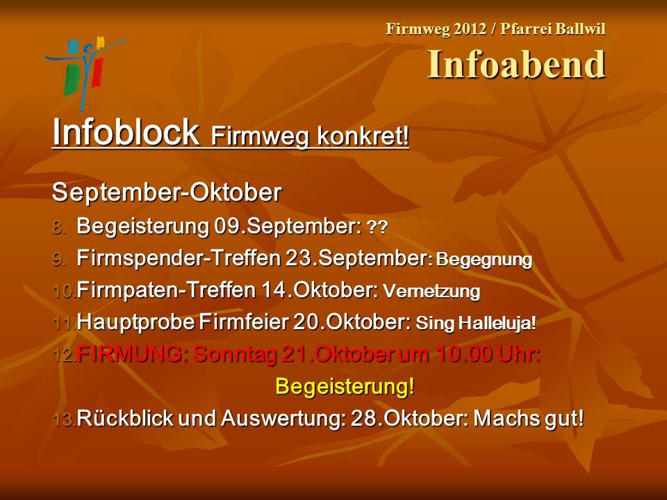Firmweg 2012 / Pfarrei Ballwil Infoabend Infoblock Firmweg konkret! September-Oktober 8. Begeisterung 09.September: ?? 9. Firmspender-Treffen 23.Septe