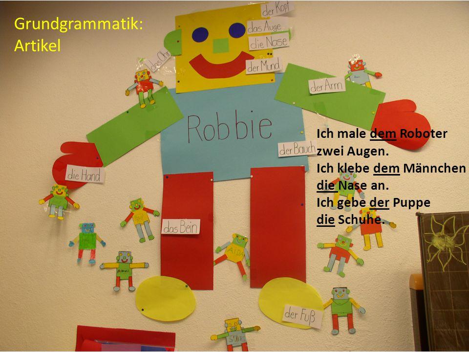 Ingelore Oomen-Welke Pädagogische Hochschule Freiburg 12 Grundgrammatik: Artikel Ich male dem Roboter zwei Augen. Ich klebe dem Männchen die Nase an.