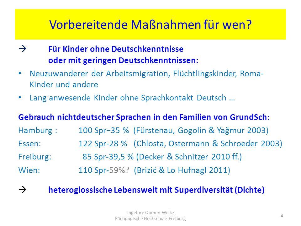 Vorbereitende Maßnahmen für wen?  Für Kinder ohne Deutschkenntnisse oder mit geringen Deutschkenntnissen: Neuzuwanderer der Arbeitsmigration, Flüchtl