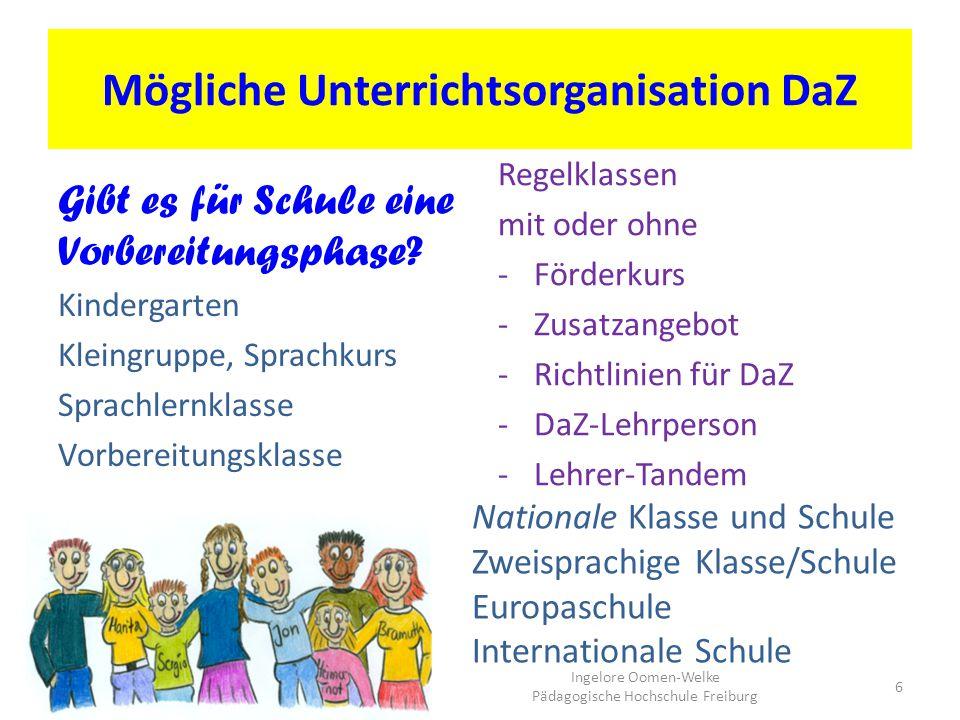 Mögliche Unterrichtsorganisation DaZ Gibt es für Schule eine Vorbereitungsphase? Kindergarten Kleingruppe, Sprachkurs Sprachlernklasse Vorbereitungskl
