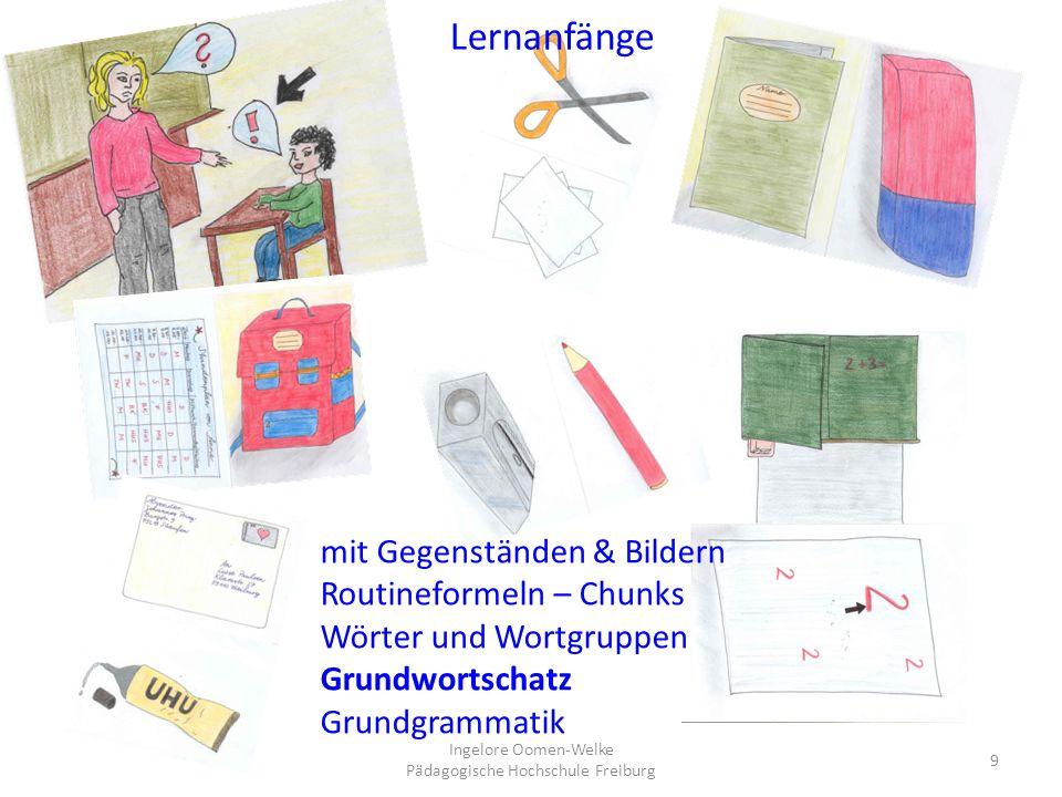 9 mit Gegenständen & Bildern Routineformeln – Chunks Wörter und Wortgruppen Grundwortschatz Grundgrammatik Lernanfänge