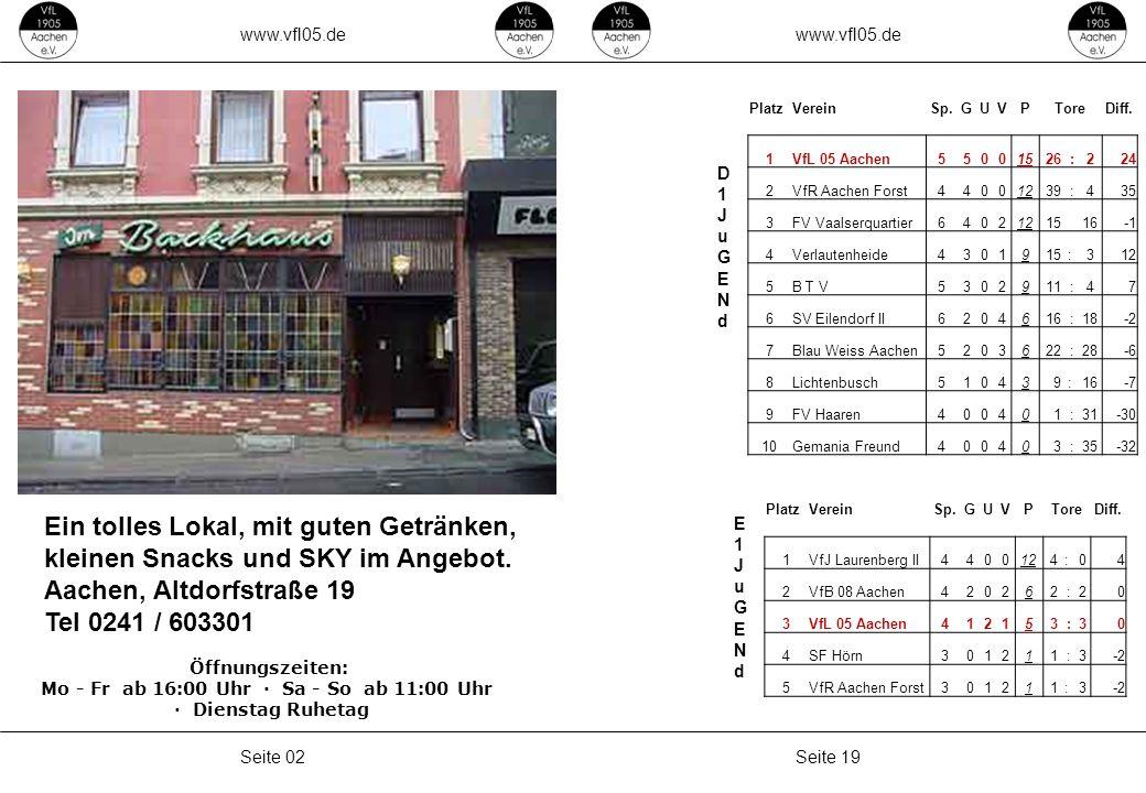 www.vfl05.de Seite 19Seite 02 D1JuGENdD1JuGENd E1JuGENdE1JuGENd Ein tolles Lokal, mit guten Getränken, kleinen Snacks und SKY im Angebot.