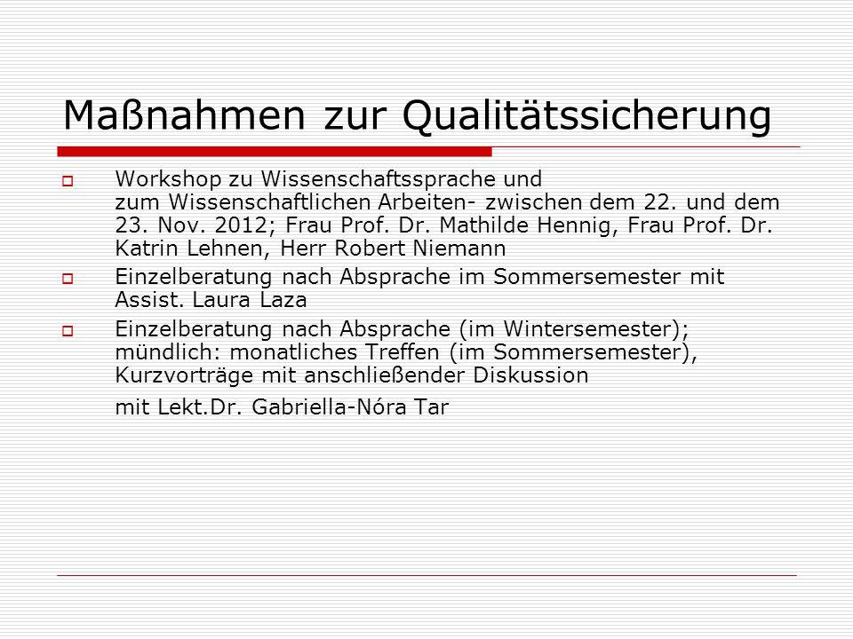 Maßnahmen zur Qualitätssicherung  Workshop zu Wissenschaftssprache und zum Wissenschaftlichen Arbeiten- zwischen dem 22. und dem 23. Nov. 2012; Frau