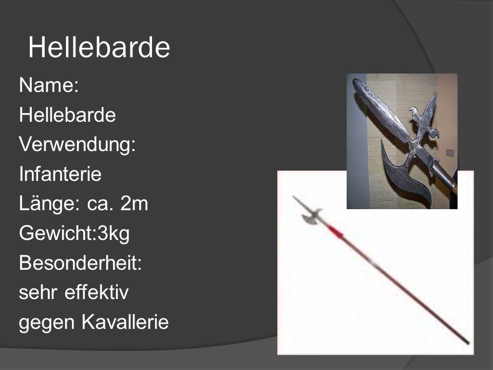Hellebarde Name: Hellebarde Verwendung: Infanterie Länge: ca.