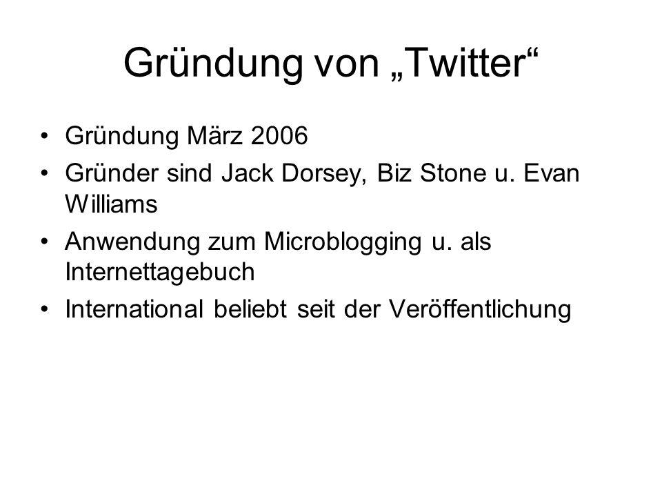 """Gründung von """"Twitter"""" Gründung März 2006 Gründer sind Jack Dorsey, Biz Stone u. Evan Williams Anwendung zum Microblogging u. als Internettagebuch Int"""