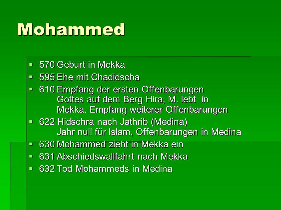 Mohammed  570Geburt in Mekka  595Ehe mit Chadidscha  610Empfang der ersten Offenbarungen Gottes auf dem Berg Hira, M. lebt in Mekka, Empfang weiter