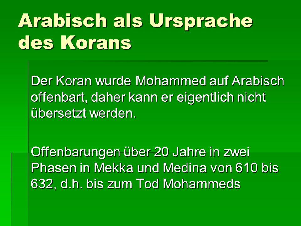 Arabisch als Ursprache des Korans Der Koran wurde Mohammed auf Arabisch offenbart, daher kann er eigentlich nicht übersetzt werden.