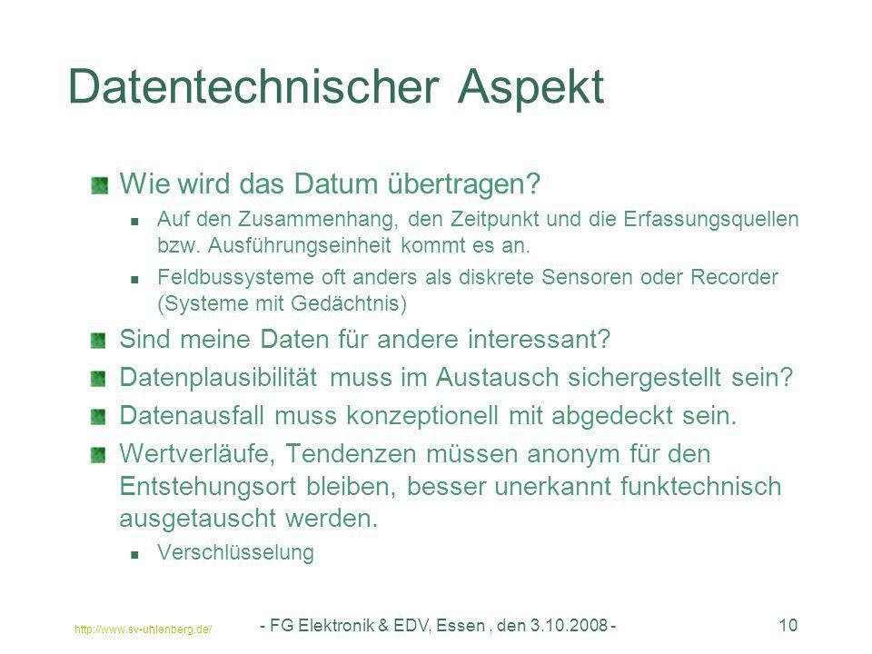 http://www.sv-uhlenberg.de/ - FG Elektronik & EDV, Essen, den 3.10.2008 -10 Datentechnischer Aspekt Wie wird das Datum übertragen? Auf den Zusammenhan