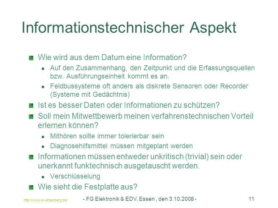 http://www.sv-uhlenberg.de/ - FG Elektronik & EDV, Essen, den 3.10.2008 -11 Informationstechnischer Aspekt Wie wird aus dem Datum eine Information? Au