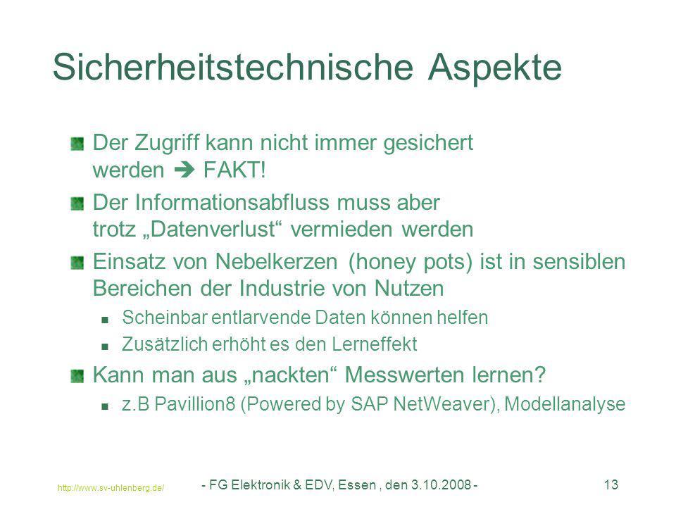 http://www.sv-uhlenberg.de/ - FG Elektronik & EDV, Essen, den 3.10.2008 -13 Sicherheitstechnische Aspekte Der Zugriff kann nicht immer gesichert werde