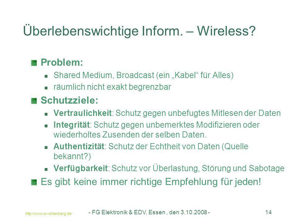 http://www.sv-uhlenberg.de/ - FG Elektronik & EDV, Essen, den 3.10.2008 -14 Überlebenswichtige Inform. – Wireless? Problem: Shared Medium, Broadcast (