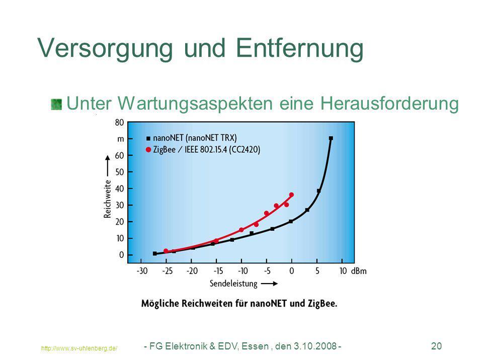 http://www.sv-uhlenberg.de/ - FG Elektronik & EDV, Essen, den 3.10.2008 -20 Versorgung und Entfernung Unter Wartungsaspekten eine Herausforderung
