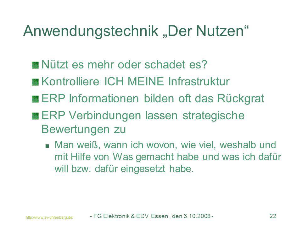 """http://www.sv-uhlenberg.de/ - FG Elektronik & EDV, Essen, den 3.10.2008 -22 Anwendungstechnik """"Der Nutzen"""" Nützt es mehr oder schadet es? Kontrolliere"""