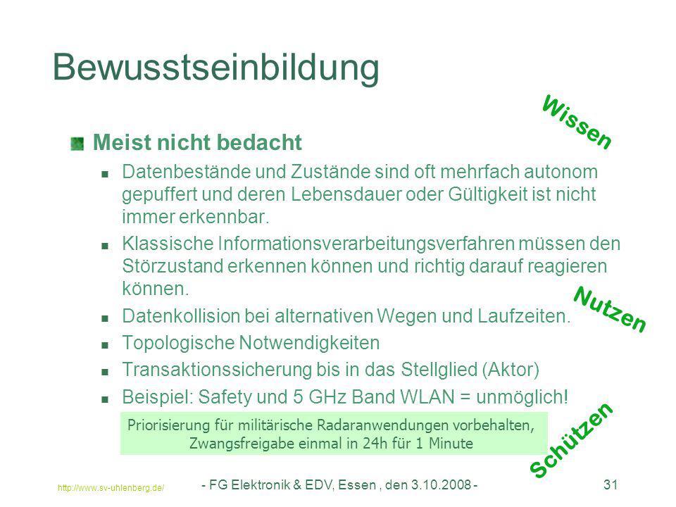 http://www.sv-uhlenberg.de/ - FG Elektronik & EDV, Essen, den 3.10.2008 -31 Bewusstseinbildung Meist nicht bedacht Datenbestände und Zustände sind oft