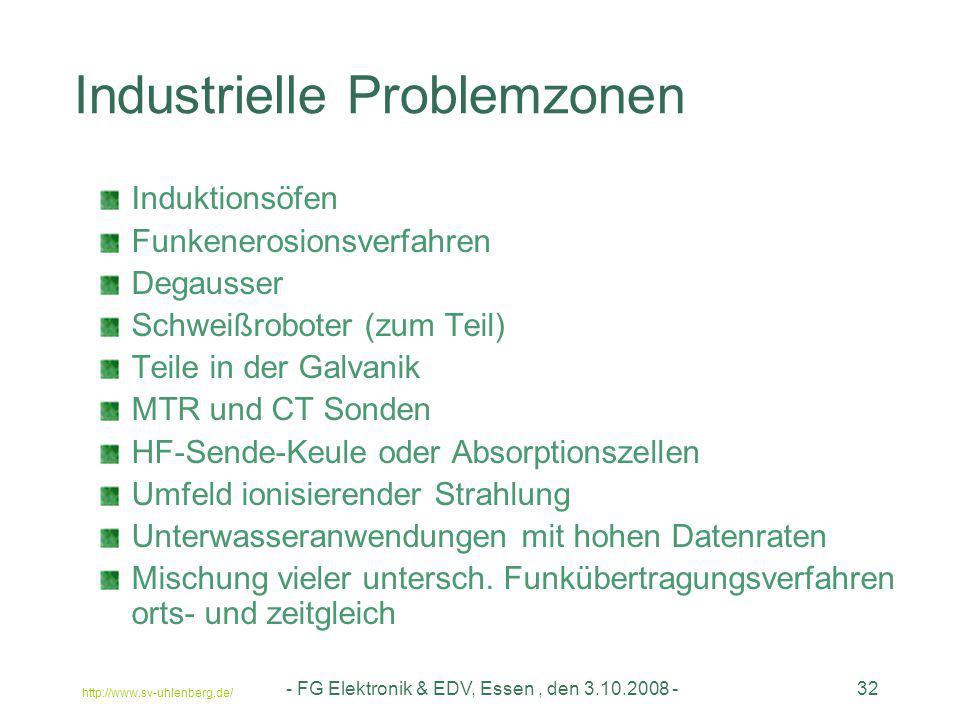 http://www.sv-uhlenberg.de/ - FG Elektronik & EDV, Essen, den 3.10.2008 -32 Industrielle Problemzonen Induktionsöfen Funkenerosionsverfahren Degausser