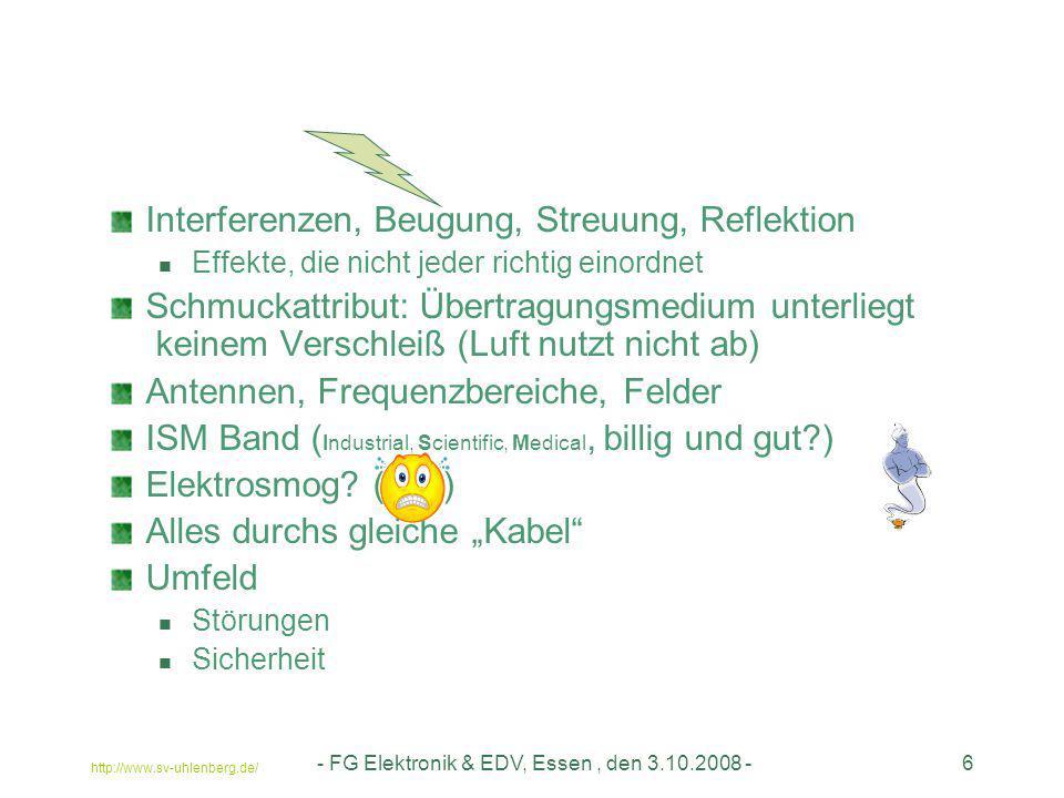 http://www.sv-uhlenberg.de/ - FG Elektronik & EDV, Essen, den 3.10.2008 -6 Interferenzen, Beugung, Streuung, Reflektion Effekte, die nicht jeder richt
