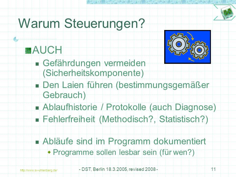 http://www.sv-uhlenberg.de/ - DST, Berlin 18.3.2005, revised 2008 -11 AUCH Gefährdungen vermeiden (Sicherheitskomponente) Den Laien führen (bestimmungsgemäßer Gebrauch) Ablaufhistorie / Protokolle (auch Diagnose) Fehlerfreiheit (Methodisch?, Statistisch?) Abläufe sind im Programm dokumentiert  Programme sollen lesbar sein (für wen?) Warum Steuerungen?