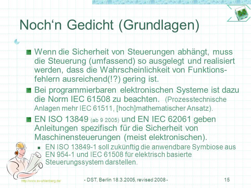 http://www.sv-uhlenberg.de/ - DST, Berlin 18.3.2005, revised 2008 -15 Noch'n Gedicht (Grundlagen) Wenn die Sicherheit von Steuerungen abhängt, muss die Steuerung (umfassend) so ausgelegt und realisiert werden, dass die Wahrscheinlichkeit von Funktions- fehlern ausreichend(!?) gering ist.