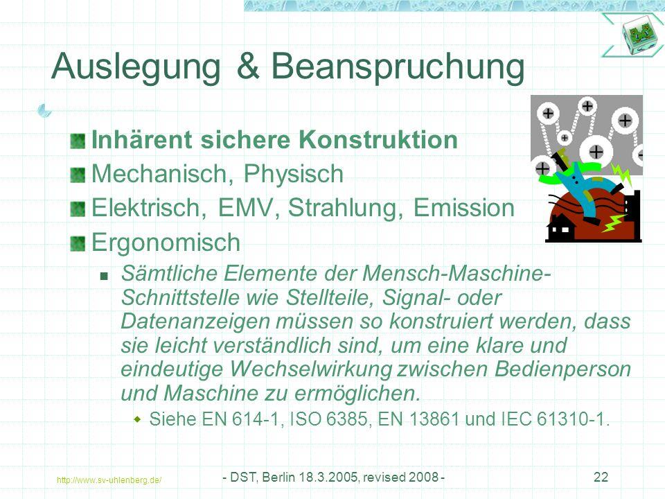 http://www.sv-uhlenberg.de/ - DST, Berlin 18.3.2005, revised 2008 -22 Auslegung & Beanspruchung Inhärent sichere Konstruktion Mechanisch, Physisch Elektrisch, EMV, Strahlung, Emission Ergonomisch Sämtliche Elemente der Mensch-Maschine- Schnittstelle wie Stellteile, Signal- oder Datenanzeigen müssen so konstruiert werden, dass sie leicht verständlich sind, um eine klare und eindeutige Wechselwirkung zwischen Bedienperson und Maschine zu ermöglichen.