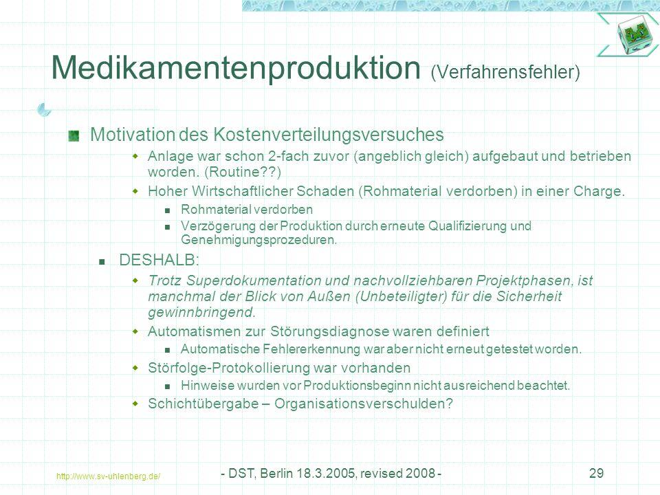 http://www.sv-uhlenberg.de/ - DST, Berlin 18.3.2005, revised 2008 -29 Medikamentenproduktion (Verfahrensfehler) Motivation des Kostenverteilungsversuches  Anlage war schon 2-fach zuvor (angeblich gleich) aufgebaut und betrieben worden.