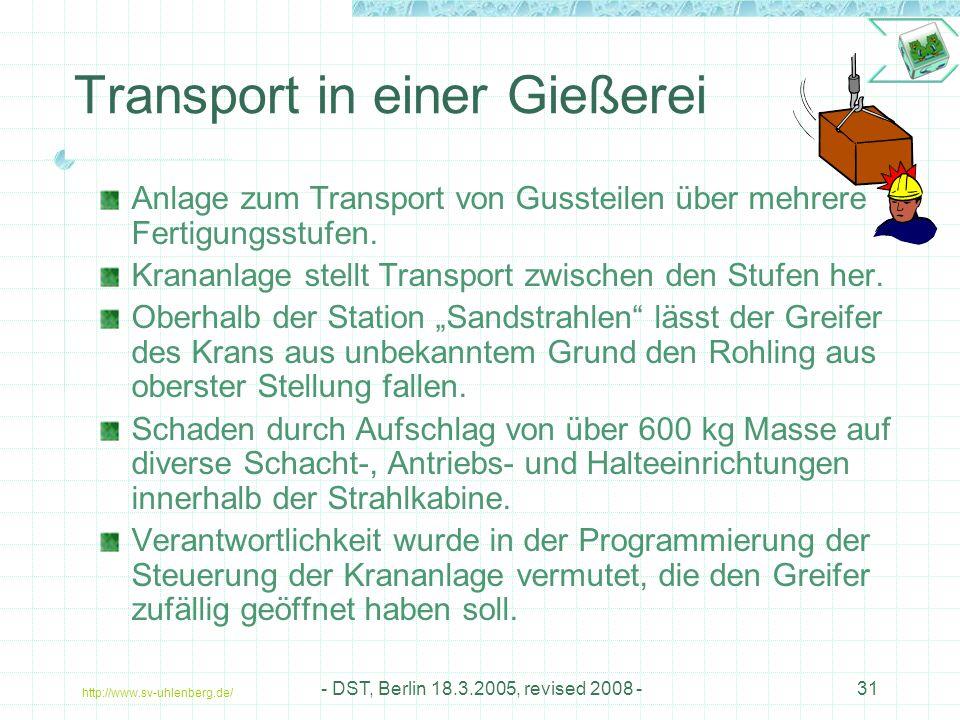 http://www.sv-uhlenberg.de/ - DST, Berlin 18.3.2005, revised 2008 -31 Transport in einer Gießerei Anlage zum Transport von Gussteilen über mehrere Fertigungsstufen.