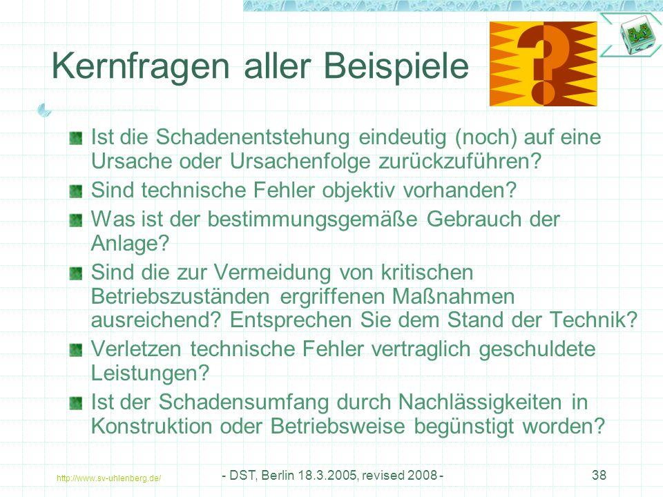 http://www.sv-uhlenberg.de/ - DST, Berlin 18.3.2005, revised 2008 -38 Kernfragen aller Beispiele Ist die Schadenentstehung eindeutig (noch) auf eine Ursache oder Ursachenfolge zurückzuführen.