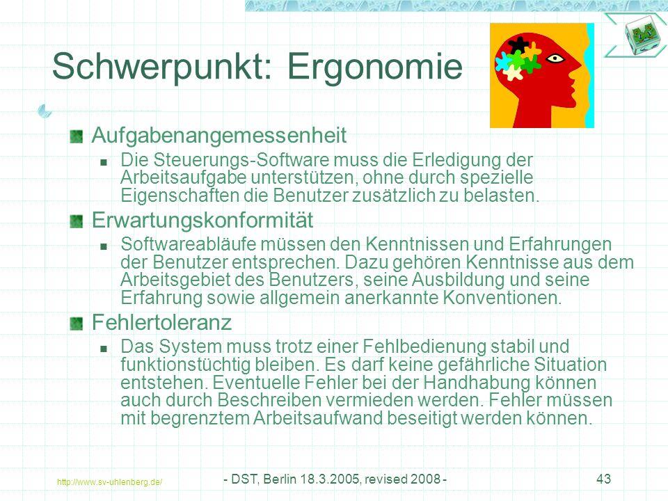 http://www.sv-uhlenberg.de/ - DST, Berlin 18.3.2005, revised 2008 -43 Schwerpunkt: Ergonomie Aufgabenangemessenheit Die Steuerungs-Software muss die Erledigung der Arbeitsaufgabe unterstützen, ohne durch spezielle Eigenschaften die Benutzer zusätzlich zu belasten.