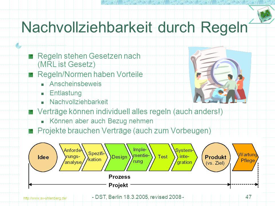 http://www.sv-uhlenberg.de/ - DST, Berlin 18.3.2005, revised 2008 -47 Nachvollziehbarkeit durch Regeln Regeln stehen Gesetzen nach (MRL ist Gesetz) Regeln/Normen haben Vorteile Anscheinsbeweis Entlastung Nachvollziehbarkeit Verträge können individuell alles regeln (auch anders!) Können aber auch Bezug nehmen Projekte brauchen Verträge (auch zum Vorbeugen)